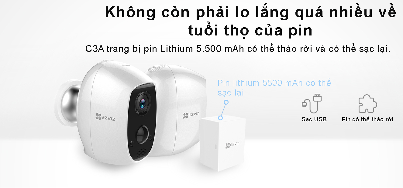 Camera Wifi dùng pin 2MP Ezviz CS-C3A-A0-1C2WPMFBR